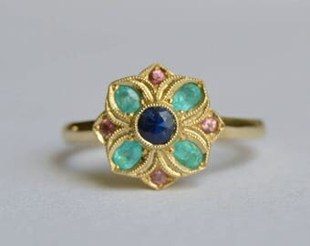 Yellow Gold Ring, Sapphire Ring, Paraiba Ring, 14 Kt Yellow Gold Ring, Red Beryl Ring, Lily Ring, Flower Ring, September Birthstone