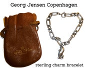 Georg Jensen Charm Bracelet and Fish Charm and Rare Leather Jensen Pouch from Copenhagen Store. Vintage Sterling Silver Denmark.
