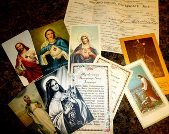 Lovely Religious Catholic Vintage Ephemera Prayer Cards, Sacred Heart, Funeral Cards for Priest. Karwata Family. Chicago.