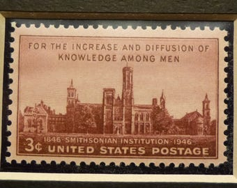 US Postage Stamp from 1946, 100th anniversary of the founding of the Smithsonian Institution  Mini Art, Matted. Unused Three Cent Stamp.