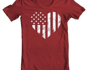 Vintage American Flag Heart Patriotic Tee - Fourth of July