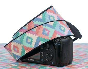 Pastel Southwestern Tribal dSLR Camera Strap, SLR, Mirrorless, Canon camera strap, Nikon camera strap, Native American Inspired, 168 w