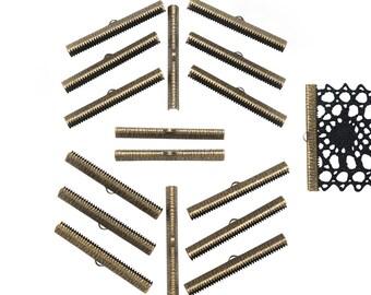 150pcs.  50mm  (2 inch) Antique Bronze Ribbon Clamp End Crimps - Artisan Series