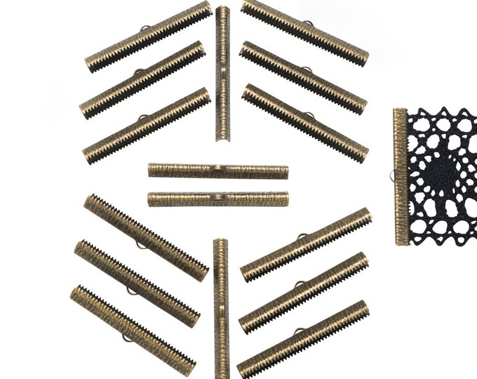 150 pieces  50mm  (2 inch) Antique Bronze Ribbon Clamp End Crimps - Artisan Series