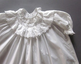 Antique Infant Christening Gown Handmade Victorian Cotton Lace Baptism Nightgown Cutwork