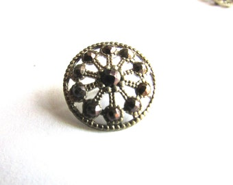 Cut Steel Button Filigree French Victorian 1800's Sewing Costume Design 1pc