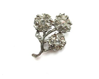 Rhinestone Flower Pave Buckle Part Piece Art Deco Vintage Assemblage Jewelry Supply Bouquet Sprig