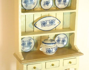 Dolls House LARGE painted DRESSER with china shabby Chic Painted 12th scale furniture Handpainted