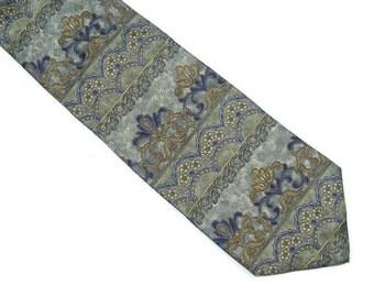 "Vintage Silk Neckwear 4"" wide Black Gold Purple Men's Necktie by Barrington"
