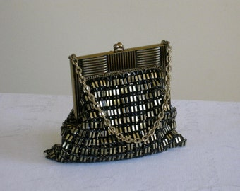 Whiting and Davis Mesh Handbag, Gold on Black Mid Century Small Evening Purse Clutch, Collectible Petite Lipstick Bag