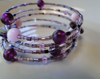Purple beaded coil wrap bracelet, memory wire