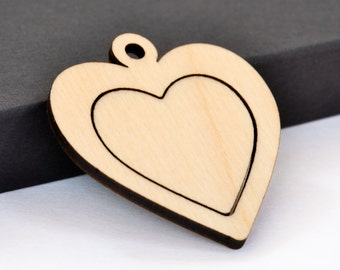 Heart Embroidery Hoop Pendants Center Connector Laser Cut Engraved from Birch Wood Valentines Day EHPHRT-C-B