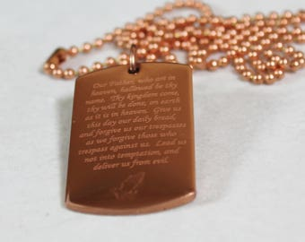 Solid Copper Lord's Prayer Our Father Dog Tag