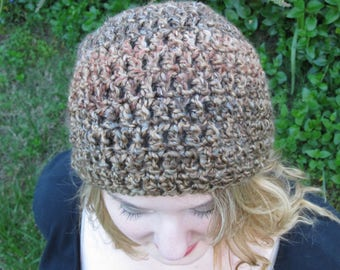 Beanie Hat, Brown Crochet, Vegan, Soft, Washable