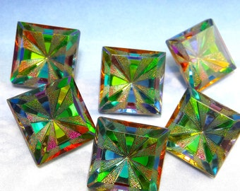 Glass Cabochon 16mm Vitrail Medium Green Square Vintage Stones 2 pcs S-172