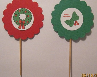 Christmas Wreath & Holly Toppers Set of 12