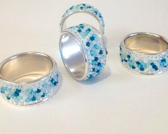 4 Napkin Holder Rings Upcycled Vintage Silver Plate with Sea Beach aqua fire polished and matte glass color beadwork