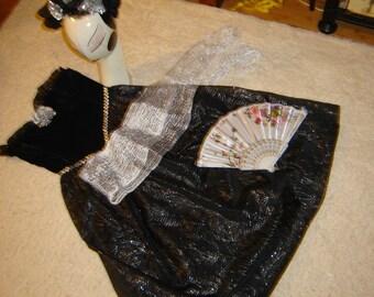 Day of the Dead Goth steampunk black dress women sz M Halloween Costume Dia de los Muretos