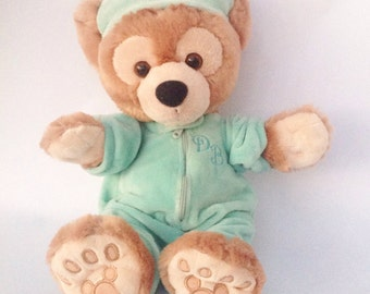 Vintage Walt Disney light brown soft green PJ Pajama Duffy bear teddy bear plush stuffed animal.