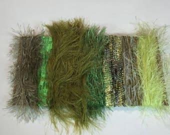 ice yarns SAMPLES fiber art bundle cards GREEN SHADES eyelash long super soft ladder ribbon caterpillar ribbon  knitting crochet supply