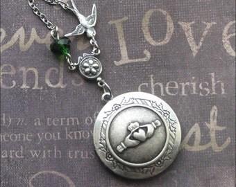 Claddagh Locket Necklace Silver Locket Womens Locket Irish Locket Wedding Locket Photo Locket Bird Locket Round Locket TheEnchantedLocket