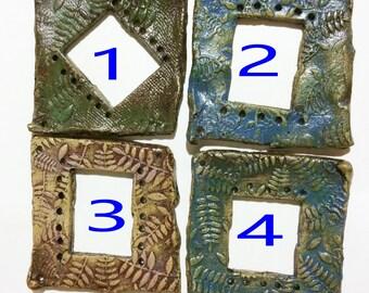 Pottery for Weaving Window rectangular loom style, Ferns, Sea Turtles