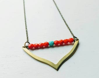Beaded Necklace. Chevron Necklace. Tribal Necklace. Tribal jewelry. Turquoise Jewelry. Statement Necklace. Gold. Brass. Geometric. Red