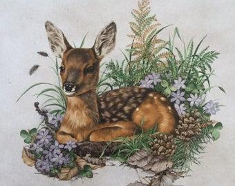 Fawn, Baby Deer, Vintage 80s 90s Decor, Framed Tile, Tile Trivet, Wall Decor, Wall Hanging, Nature Illustrations Decor, Rustic