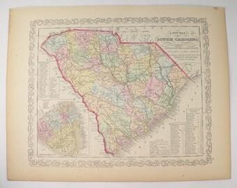 Original 1858 Mitchell Desilver South Carolina Map Handcolored Antique Map South Carolina Sc Map