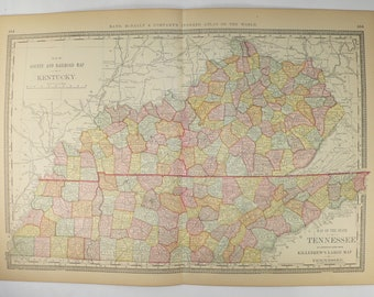 Vintage KY Map TN 1881 Rand McNally Kentucky Map Tennessee, Antique Map Kentucky, Tennessee Map, Vintage Southern Decor Gift for Coworker