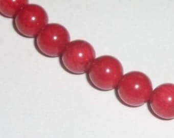 Clearance - Bamboo coral red gemstones, 6-7mm Gemstone Round Beads -- 1 Strand