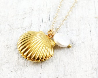 Shell Locket Necklace Gold Shell Necklace Seashell Ocean Nautical Pendant Pearl Summer Wedding Beach Mermaid