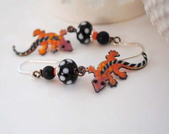 Lizard Earrings, Colorful Earrings, Enamel Earrings, Polka Dot Earrings, Funky Gecko Earrings, Animal Earrings, Artisan  Jewelry
