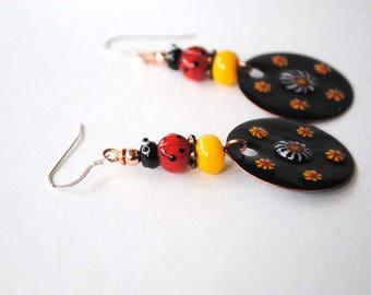 Ladybug Earrings, Lampwork Earrings, Insect Earrings, Floral Earrings, Black Red Earrings, Artisan Enamel Earrings, Garden Earrings