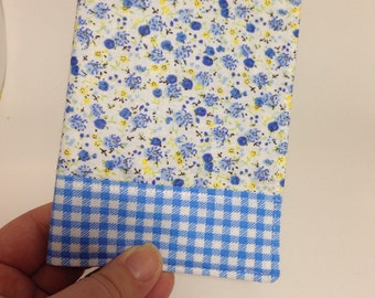 Passport Cover in Blue Floral and Gingham Print