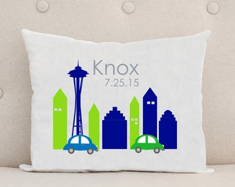 Unique Baby Gift, Birth Announcement, Personalized Baby Pillow, Seattle Skyline, Space Needle