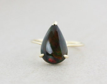 CHRISTMAS SALE Teardrop Black Opal Ring - 10K Yellow Gold - October Birthstone