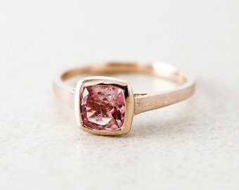 CHRISTMAS SALE Rose Gold Pink Champagne Tourmaline Ring - Cushion Cut - Engagement Ring