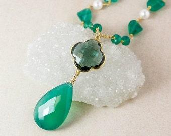 VALENTINE SALE Green Onyx Teardrop Necklace – Teal Quartz Clover – Green Onyx Chain