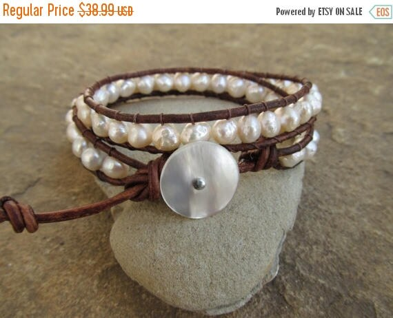 30%  OFF SALE Freshwater Pearl Beaded Leather Wrap Bracelet