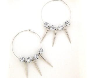 Statement - Earrings - Huge - Hoops - Faux Diamonds - Pave - Spikes - Silver Metal - Disco Ball - Extrovert - Retro - 90s - Recycled