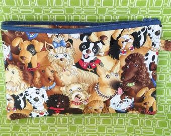 Gifts for dog lovers, Mini dog bag, wristlet dog print bag, zipper pouch, cell phone mini bag- dog walking fanny pack, running bag KBD703