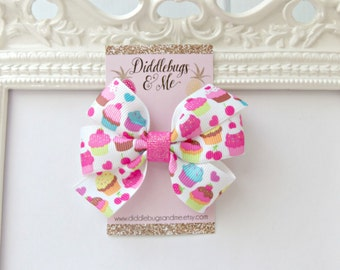 Cupcakes Hair Bow, Colorful Cupcakes Hair Bow, Girls Pink Hair Bow, Hair Bows,  Birthday Hair Bow, Hair Bows For Girls, Party Favors