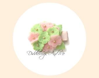 Mint And Peach Hydrangea Hair Clip, Felt Flower Hair Clip, Toddler Hair Clips, Spring Barrettes, Flower Clips For Easter, Baby Hair Clips,