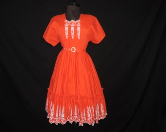red embroidered square dance vintage day dress swing dress full skirt rockabilly frock plus size XL
