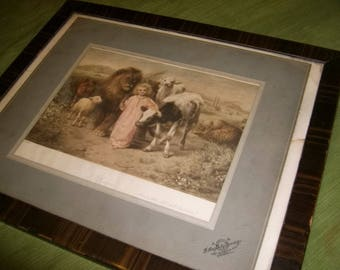 Antique W.Strutt A Child Shall Lead Them Picture and Frame