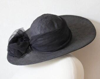 Vintage Black Wide-Brim Linen Sun Hat Tulle Bow