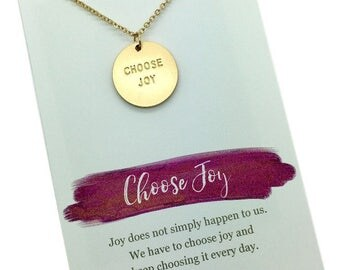 Choose Joy Necklace, Choose Joy Jewelry, Matte Gold or Silver stamped charm, Inspirational jewelry gift, carded necklace with message quote