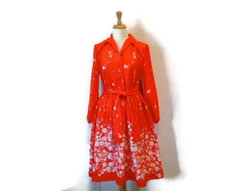 60s dress Coral Red Dandelion by Lorac Original Long sleeve Day dress Medium