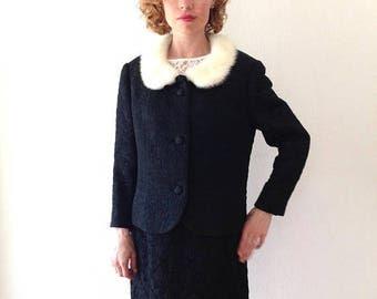1950s Suit mink fur collar Loden Frey black jacquard suit jacket and skirt 2 pc. Vintage 50s suit